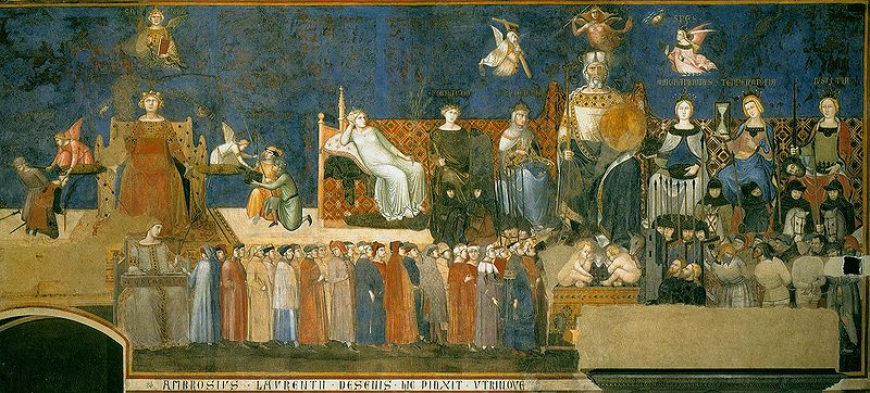 800px-Lorenzetti_Amb._allegory-of-good-government-_1338-39